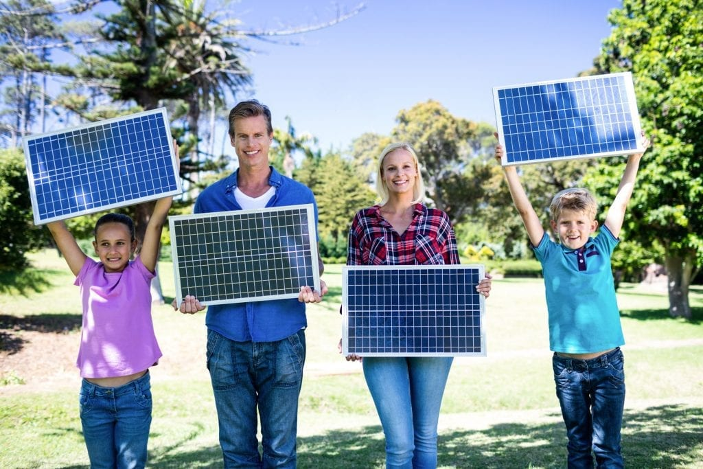 happy family who have brought the best solar panels for their home